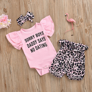 مصمم ملابس الطفل مجموعات السروال القصير الطفل المولود حديثا العلامة التجارية الرسالة طباعة Ropmers + ليوبارد السراويل + اكسسوارات الشعر الساخن بيع