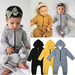 2020 Zipper mit Kapuze Baby Body Neugeborenes Baby-Kleidung-Mädchen-Jungen Langarm-Shirts Spielanzug-Overall-Frühlings-Herbst-Outfits 0-24M