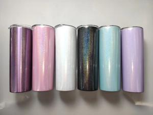 20온스는 텀블러 7 개 색상 옵션 무지개 슬라이드 덮개와 짚으로 스테인리스 스틸 이중 벽 BPA가없는 진공 절연 물 컵을 빼빼 빼빼