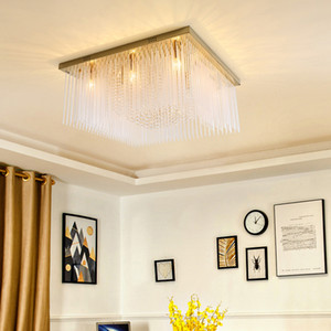 New style contemporary luxury square L 80cm x W 80cm crystal Gold chandelier lighting led flush mount ceiling lights for foyer bedroom