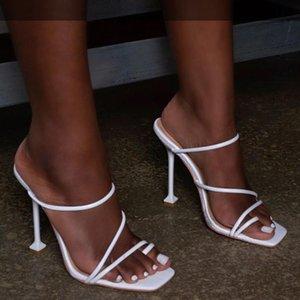 Blanc Noir Chaussons imprimé serpent Strappy Mule Escarpin Sandales Chaussons femmes chaussures Tongs bout carré Slides Party Chaussures