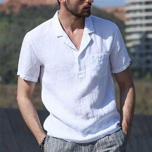 Plus Size Cotton Linen Mens Shirts New Summer 2020 Streetwear Casual Short Sleeve Retro Button Shirts Men Dress Camisa Hombre
