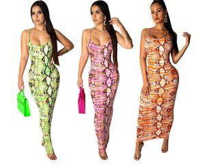 Adogirl Snakeskin Print Women Maxi Dress