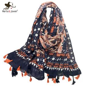 MarteJoven estilo étnico floral Impressão Laranja Scarf Pashmina Moda Outono / Inverno Oversized macias ShawlsWraps com borlas