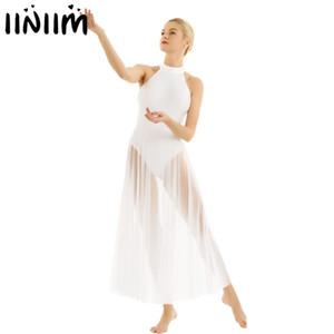 iiniim Frauen Ballett Tanzkleid Erwachsene Ballerina Lyrical Competition Gymnastik Trikot Kostüme Femme Dancewear mit Mesh Rock