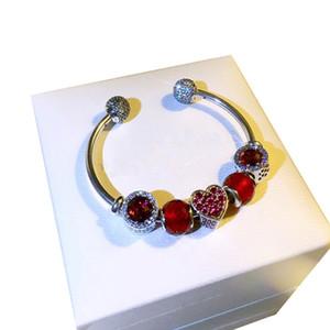 Red Love cuore Chamrs fai da te BRACCIALI di nozze donne ciondolo di Pandora 925 Stelring argento scintillanti bracciali aperte con la scatola originale