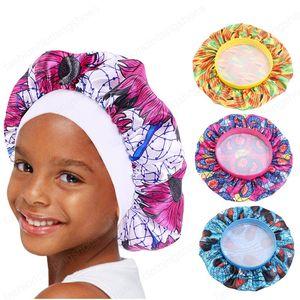 Bambini Bonnet tessuto africano Stampa Ankara notte di sonno Cap Elastic neonate ampie fasce Turbante Bandane fasce della testa dei capelli Wrap