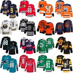 Популярная свитеры 97 Макдэвид 87 Сидни Кросби 8 Алекс Овечкин 88 джерси Kane 88 Brent Burns 91 Seguin Харт Айкел хоккейную