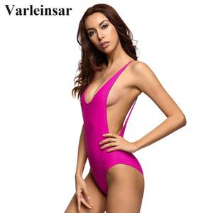 Varleinsar atractivo rosa rosa baja de la espalda corte sin respaldo de una sola pieza traje de baño femenino del traje de baño de las mujeres traje de baño trajes de baño de Monokini V111P