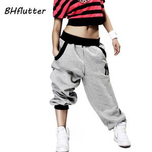 BHflutter Pantalones mujeres más tamaño Harem Hip Hop Pantalones Streetwear alta cintura danza Pantalones 2018 invierno Pantalones largos Pantalones Y200418