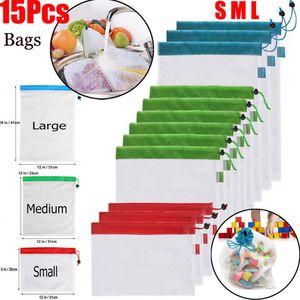 Bolsas de producción de malla reutilizables 15 unids / set Bolsas ecológicas para compras de frutas y verduras Bolsas de almacenamiento de frutas OOA6935