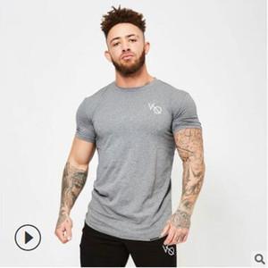 새로운 캐주얼 남성 짧은 소매 T 셔츠 체육관 피트니스 운동 의류 남성 패션 브랜드 비치 티 탑