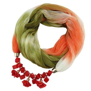 Collier Fashion Ethnic Silk Scarf Flower Pendant Women Perles écharpe bijoux foulards collier Déclaration Collier femme