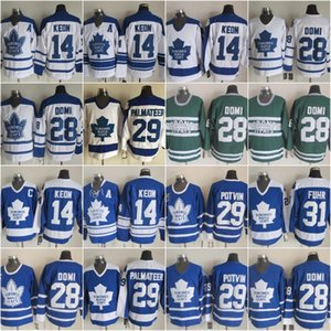 Vintage Toronto Maple Leafs 28 Tie Domi hokey Jersey 14 Dave Keon 29 Felix Potvin Mike Palmateer 31 Grant Fuhr casa Blu Uomo Classic Stitch