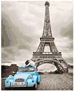 """Масляная краска DIY Картина по номерам Наборы для взрослых, расписанные вручную Paint-Kiss of Paris 16 """"x20"""""""