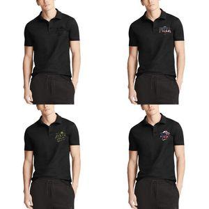 Beiläufigen Männer Designer Polos Shirts Premium-Pizza Hut-Logo-Schwarz Lieferung Online-Bestellung amerikanische Flagge beunruhigt Schwarz Tarnung 3D