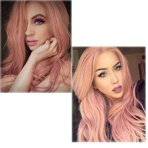 Vendita calda europei e parrucche capelli lunghi volume di onda grande macchia soffici capelli ricci lunghi Harajuku parrucca rosa set ladies