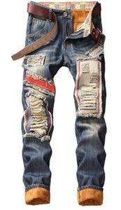 Loch Panelled Herren Designer Jeans Mode Weinlese Ripped-Stickerei-Druck-Abzeichen Mens Zipper Jeans Männer Kleidung