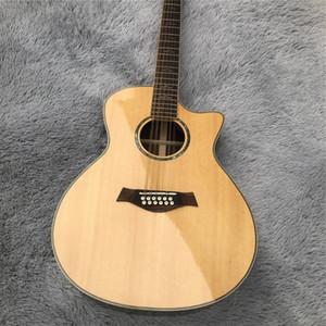 Personalizados 41 pulgadas Tapa de picea sólida Corte de palo de rosa Volver 12 Cuerdas 814 eléctrico guitarra acústica con el envío libre golpeador