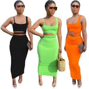 المرأة الصيف مثير 2 اثنين من قطعة ملابس مجموعات بلا أكمام السباغيتي حزام أجوف خارج سترة أعلى محصول BODYCON عالية الخصر الملابس تنورة دعوى عارضة