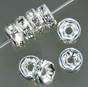 meilleur! Livraison gratuite 500pcs / lot blanc 8mm cristal Spacer Rondelle Spacer Argent Plaqué Perle pour bracelet hotsale DIY Résultats Bijoux
