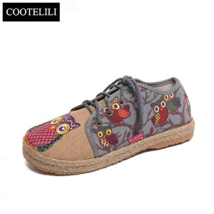 venta al por mayor Zapatos Oxford mujeres planas de los holgazanes de lino de deslizamiento sobre el Owl punta redonda Tamaño de impresión transpirable Femenino Rojo Azul Gris 35-40