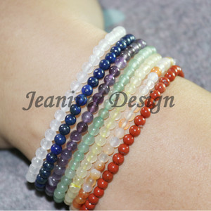 Jeaniver 2019 New Design 7 Chakra Suit Natural Gemstone Bracelet High Quality Amethyst Red Stone Jasper White Jeader Jewester