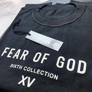 19SS FEAR OF GOD FOG SIXTH COLLECTION XV TEE T-shirt Fashion Tee Simple Street Skateboard traspirante Casual maniche corte Tee HFYMTX515