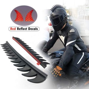 Reflective Motorcycle Helmet Mohawk Spikes Rubber Camber Saw with Red Helmet Decals(Helmet Not Included)