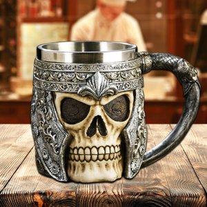 Kafatası Savaşçı Tankard Bira Cup Coffee Mug Gotik Kask Drinkware Şövalye Gemi Cadılar Bayramı C18112301 çarpıcı 3D Reçine Kafatası Mug Tankard