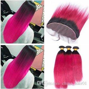 Brasilianische Ombre Rosa Reines Menschenhaar 3 Bundles Angebote mit 13x4 Spitze Frontal Verschluss Gerade 1B Hot Pink Ombre Haar Webt mit Frontalen