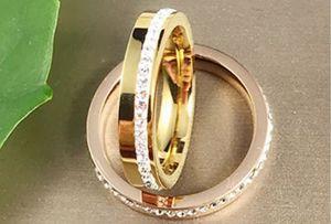 Real titanium steel diamond simple rings rose gold luxury romantic designers index finger girl women rings