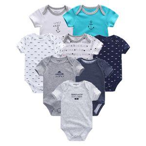 2019 8PCS Lot Newborn Clothes 100%Cotton O-Neck 0-12M Baby Girls Boys Jumpsuit Bodysuits Roupas de bebe Short Sleeve Clothing T200706