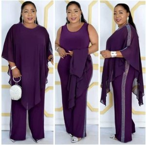 Two pieces set Fashion Chiffon Cape with Sequined Jumpsuit plus size African party jumpsuit African clothes for women