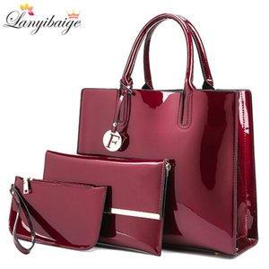 Marca 3 Sets Bolsos de Mujer de Alta Calidad de Charol Mujer Messenger Bag Luxury Tote + ladies Hombro Crossbody Bolsa + embrague J190716