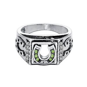خمر الفضة مطلي الأخضر الماس لاكي الرجال خاتم حدوة نورس الأساطير فايكنغ تميمة مجوهرات ريترو كلاسيكي الحظ الدائري