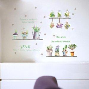 Verano dormitorio estante planta de flor verde de la pared de la etiqueta engomada en maceta suculentas flor de cactus salón de la cocina del hogar del jardín calcomanía