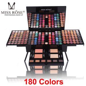 Miss Rose 180 colores Paleta de sombras de ojos Maquillaje Shimmer Kit de contorno para el rostro 2 Polvos para el rostro Blush 1 Delineador de ojos 6 Cepillo de esponja Maquillaje Conjunto de regalo