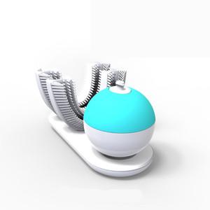 فرشاة الأسنان الكهربائية الصوتية الصوتية شكل U مصمم الكبار 360 درجة نظافة الأسنان كسول الناس سيليكون فرشاة الأسنان