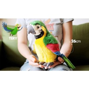 Hot 26cm Electric Plush Simulation Parrot Toy Macaw Toy Cute Parrot Doll Kids Gift CUN 668