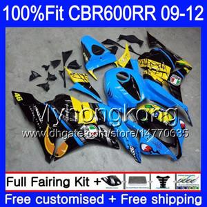 Einspritzung für HONDA CBR 600RR 600F5 CBR600RR 09 10 11 12 282HM.0 CBR 600 RR F5 CBR600 RR 2009 2010 2011 Verkleidungssatz Haifischfisch blau