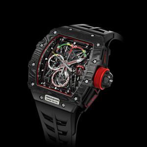 Cronógrafo relógio militar pulseira de borracha preta do sexo masculino de relógios de luxo esportes designer de quartzo moda relógios mens dos homens relógios Reloj de lujo