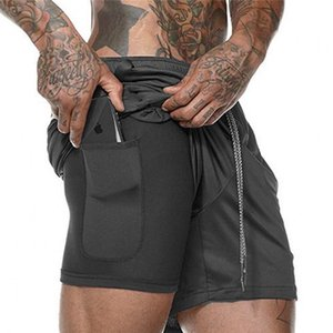 Summer Men's 2 in 1 Joggers Security Pockets Double Layer With Pocket Fitness Solid Camo Workout Shorts T200403