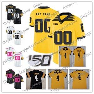 아이오와 Hawkeyes 2019 New Customized Any Name Number Stitched White Black Yellow # 12 Brandon Smith Stanley Stanzi NCAA Football Jersey