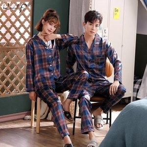 Couple Silk Satin Pyjamas Long Sleeve Sleepwear Pijama Suit Women And Man Plaid Pajamas 2PC Set Loungewear T200707