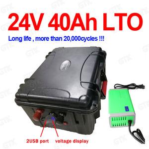 Güneş enerjisi + 5A Şarj scooter monitör için 2 USB portu BMS ile su geçirmez Lityum titanat batarya 24v 40Ah LTO pil