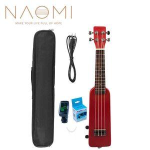 """NAOMI 21 """"Okoume Electric Ukulele + 우쿨렐레 튜너 NM-86 기타 튜너 Ukelele Uke Kit W / Gig Bag 3.5mm 오디오 케이블 레드"""