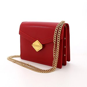 2020 New Retro Lock Genuine Leather Chain Bag Womens Shoulder Bag Messenger Bag Autumn and Winter All-match Womens