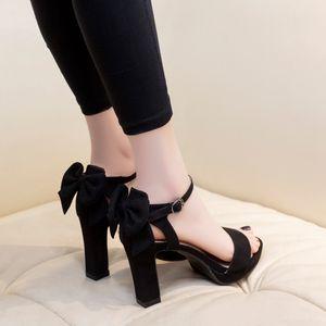 Bow Shoes Black Platform Sandals Block Heels Suit Female Beige 2020 Summer Espadrilles Fashion Closed Chunky Ladies Velvet