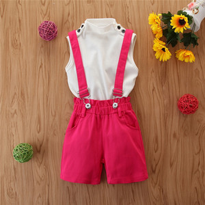 Kids Baby Girls 2PCS Outfits Summer Sleeveless T-shirt Tops+Shorts Clothes Set